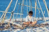 Cute boy having fun at beach — Stock Photo