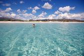 Panorama of idyllic beach with turquoise water — Stock Photo