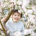 Cute little boy in blooming apple garden — Stock Photo #65630645