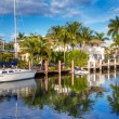 Expensive yacht and homes in Fort Lauderdale — Stock Photo #67660551