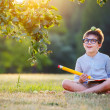 Cute little schoolboy feeling excited about going back to school — Stock Photo #72081017