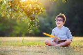 Cute little schoolboy feeling excited about going back to school — Stock Photo