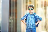 Portrait of cute school boy with backpack — Stock Photo