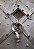 Door knocker on Prague cathedral — Stock Photo