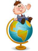 Schoolboy on  globe — Stock Vector