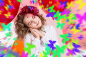 Girl with eyes closed dreaming.  — Stockfoto