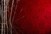 Branch of a tree on a red background with a pattern.  — Stock Photo