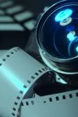 Close-up photo movie camera lens — Stock Photo