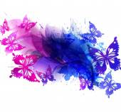 Background with watercolor flowers and butterflies — Vector de stock
