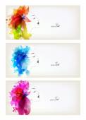 Set of woman with colorful flowers and blots — 图库矢量图片