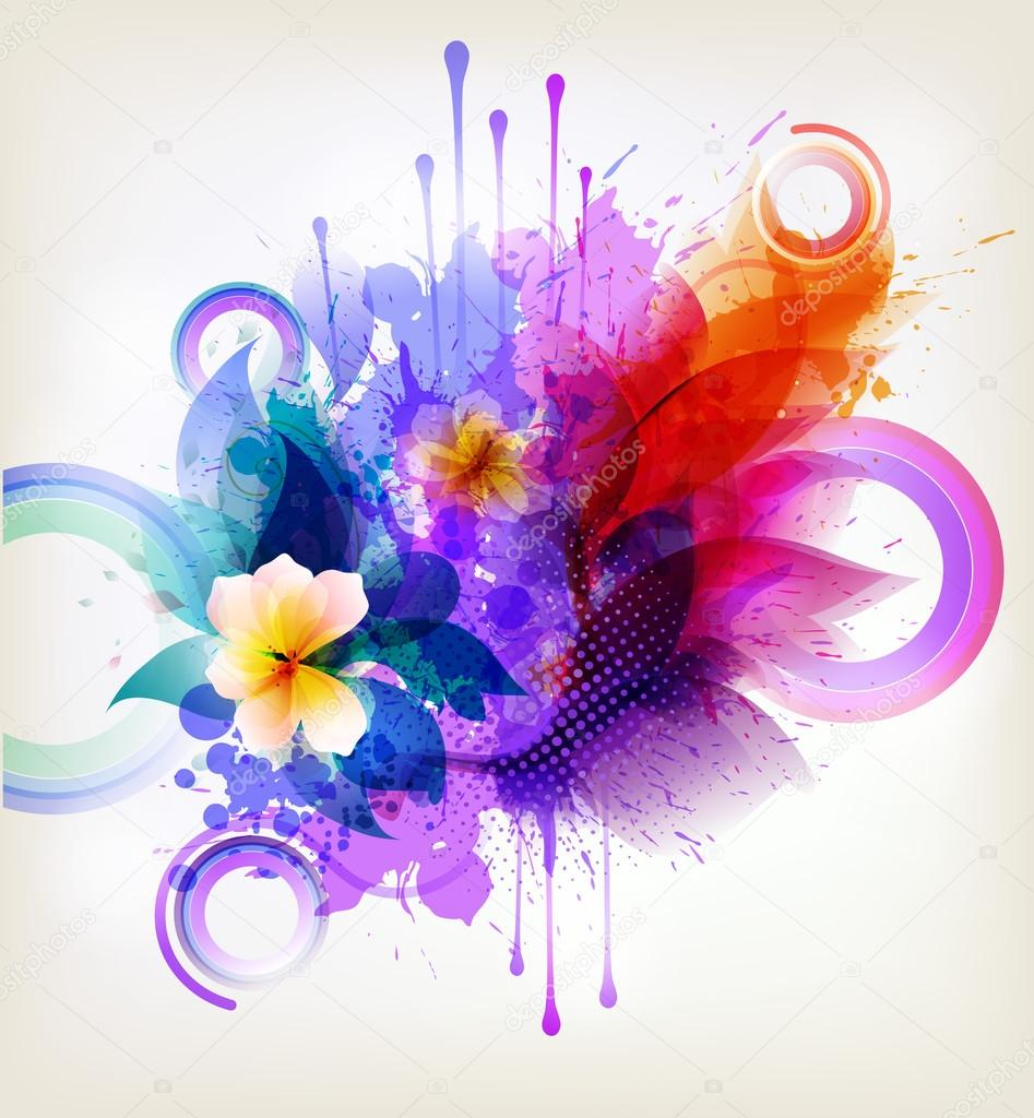 Background image 7945 - Watercolor Background With Flowers And Blots Stock Vector 62794579