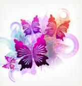 Watercolor flowers, butterflies and blots — Stok Vektör