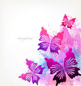 Watercolor flowers, butterflies and blots — Wektor stockowy