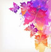 Flowers with butterflies background — Vector de stock