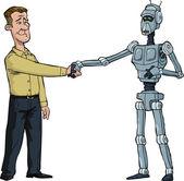 Handshake man and robot — Stock Vector