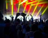 Photo of young people having fun at rock concert, active lifestyle — Stock Photo