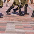 Soldiers march in formation — Stock Photo #83439872