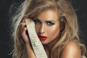 Sexy strict woman with red lips — Stock Photo