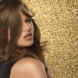 Magic Girl Portrait in Gold. Golden Makeup — Stock Photo #73283411