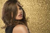 Magic Girl Portrait in Gold. Golden Makeup — Stock Photo