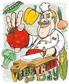 Chef-kok plantaardige dag — Stockvector