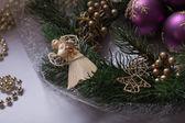 Angel with Christmas wreath and Christmas Balls — Stock Photo