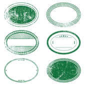 Green Grunge Oval Stamp Set — Stock Vector