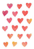 Watercolor hearts background — Stock Photo
