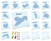 Collage of Saxony with counties — Stock Photo