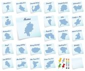 Ollage of Hesse with districts — Fotografia Stock