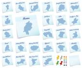 Ollage of Hesse with districts — Stockfoto