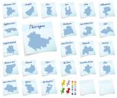 Collage of Thuringia with counties — Stock Photo