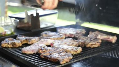 Barbeque Grilling Lamb Chops — Stock Video