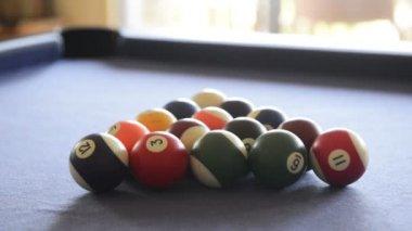 Breaking Billiard Balls On Pool Table — Vídeo de stock