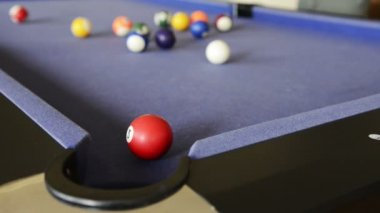 Playing Pool on Pool Table — Vídeo de stock
