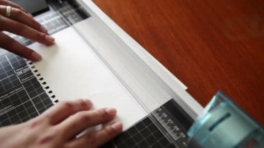 Paper Slicing on Guillotine — Stock Video