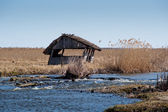 Fisherman's old hut by the river — Stock Photo