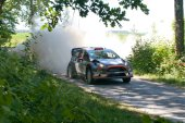 MIKOLAJKI, POLAND - JUL 4: Robert Kubica and his codriver Maciej Szczepaniak in a Ford Fiesta WRC race in the 72nd Rally Poland, on July 4, 2015 in Mikolajki, Poland. — Stock Photo