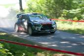 MIKOLAJKI, POLAND - JUL 4: Kris Meeke and his codriver Paul Nagle in a Citroen DS3 WRC race in the 72nd Rally Poland, on July 4, 2015 in Mikolajki, Poland. — Stock Photo