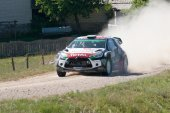 MIKOLAJKI, POLAND - JUL 3: Kris Meeke and his codriver Paul Nagle in a Citroen DS3 WRC race in the 72nd Rally Poland, on July 3, 2015 in Mikolajki, Poland. — Stock Photo