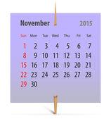 Kalender voor november 2015 — Stockvector