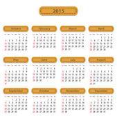 2015 English calendar — Vettoriale Stock