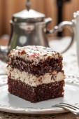 Piece of chocolate cake. — Stock Photo