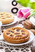 Tasty chocolate walnut tart. — Stock Photo