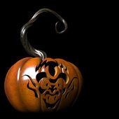 Goblin on pumpkin — Stock Photo