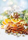 Oranges, cinnamon sticks and anise star — Stock Photo