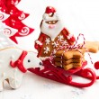 Gingerbread polar bear and Santa Claus — Zdjęcie stockowe #52535409