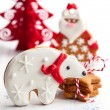 Gingerbread bear and Santa Claus — Stockfoto #52535487