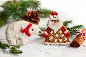 Gingerbread Santa Claus and polar bear — Stock Photo