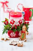 Christmas table decorated with candle — Stockfoto